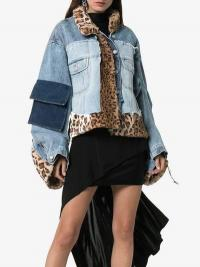 Natasha Zinko Faux Fur Patchwork Denim Jacket | mixed fabric jackets