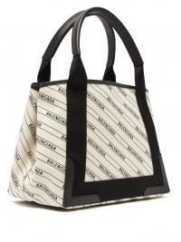 BALENCIAGA Navy Cabas logo-print tote bag / designer daytime handbags