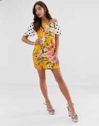 Never Fully Dressed off shoulder mini dress in spliced print. SPOT AND FLOWER PRINTS
