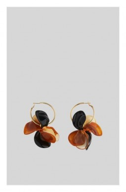 WHISTLES Petal Resin Hoop Earring Brown / Multi