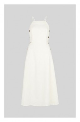 WHISTLES Nina Button Linen Dress in White ~ perfect all round summer dress ~ dress up or down clothing