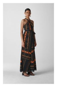 WHISTLES Paisley Scarf Maxi Dress in Black / Multi ~ effortless vacation glamour