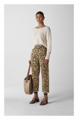 WHISTLES Leopard High Waist Barrel Leg Jeans ~ animal print denim