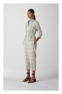 WHISTLES Alphina Check Jumpsuit Grey / Multi