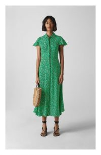 WHISTLES Ditsy Blossom Midi Shirt Dress Green / Multi ~ flutter sleeve spring dresses