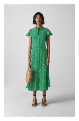 WHISTLES Ditsy Blossom Midi Shirt Dress Green / Multi ~ flutter sleeve spring dresses