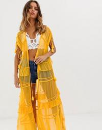 NFC Capri maxi kimono with lace in marigold combo | long sheer yellow jacket