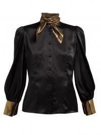 EDELTRUD HOFMANN Nico black high-neck silk blouse / shimmering lamé trims