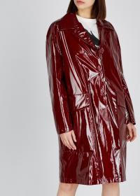 NO.21 Burgundy silk and PVC coat / shiny red coats