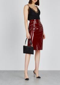 NO.21 Burgundy silk and PVC pencil skirt / dark-red high shine skirts