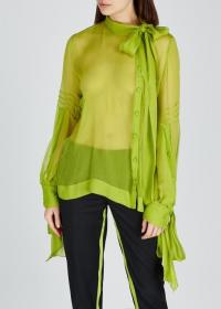 NO.21 Lime sheer silk georgette blouse ~ bow-fastening necktie and cuffs