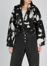 NO.21 Tie-dye hooded cotton jacket / monochrome cropped boxy jackets