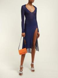JACQUEMUS Notte knitted dress in navy ~ blue fitted side spit dresses