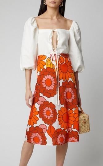 DoDo Bar Or Odetta Floral-Print Midi Skirt ~ 70s style orange flower prints