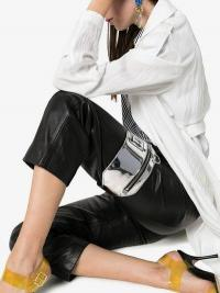 Off-White Silver Arrow Print Patent Leather Leg Pouch / small metallic bags