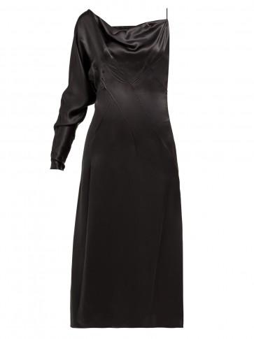 VERSACE One-shoulder side-slit silk slip dress in black ~ lbd
