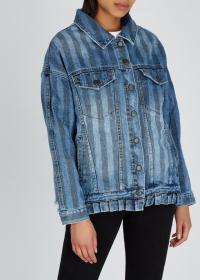ONETEASPOON Blue striped denim jacket ~ ruffled hem detail