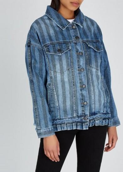 ONETEASPOON Blue striped denim jacket ~ ruffled hem detail