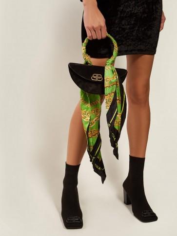 BALENCIAGA Opera BB-logo suede bag in black / small luxe handbags