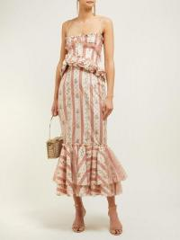 BROCK COLLECTION Ophelie floral-stripe midi dress ~ thin strap ruffled dresses