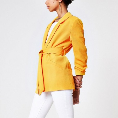 RIVER ISLAND Orange belted blazer – bright jackets - flipped