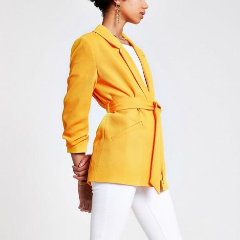 RIVER ISLAND Orange belted blazer – bright jackets
