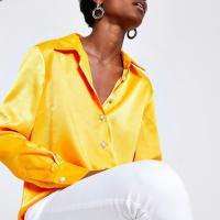 River Island Orange satin long sleeve shirt ~ bright silky shirts