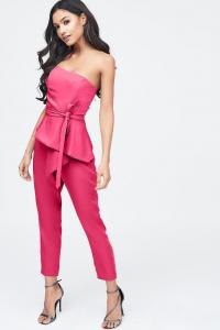 LAVISH ALICE origami folded jumpsuit in fuchsia pink – strapless jumpsuits