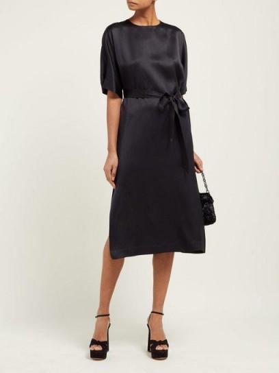 ROCHAS Osprey silk-satin midi dress in black ~ effortless style ~ lbd