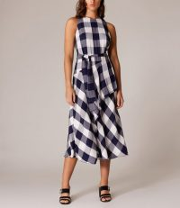 KAREN MILLEN Oversized-Gingham Midi Dress Blue / Multi ~ asymmetric front dresses