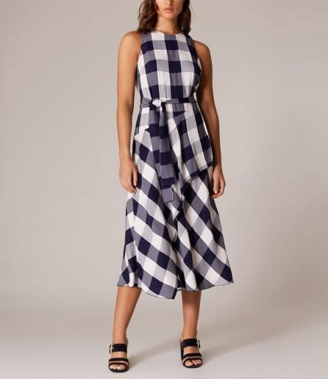 KAREN MILLEN Oversized-Gingham Midi Dress Blue / Multi ~ asymmetric front dresses
