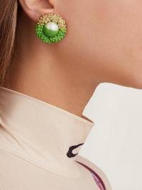 MARINE SERRE Painted faux-pearl stud clip earrings in green