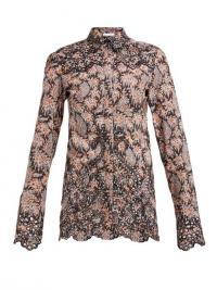 PACO RABANNE Paisley-print eyelet-lace cotton-poplin shirt ~ scalloped shirts