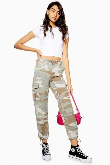TOPSHOP Pale Camouflage Utility Trousers / cuffed camo pants - flipped