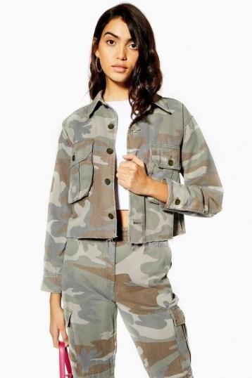 TOPSHOP Pale Wash Camouflage Shacket in Khaki / lightweight camo jackets - flipped