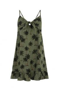 OASIS PALM TREE TIE FRONT DRESS IN GREEN / thin strap sundress