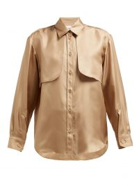 BURBERRY Panelled silk-faille blouse in honey ~ front panel blouses