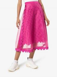 Paskal High-Waisted Sheer Midi Skirt in fuchsia