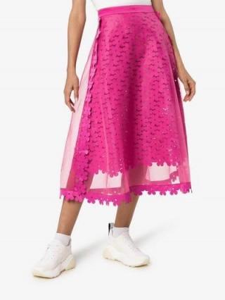 Paskal High-Waisted Sheer Midi Skirt in fuchsia