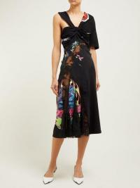 MARINE SERRE Patchwork floral-lace and cotton jersey midi dress | Matches Fashion