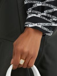 BALENCIAGA Pavé crystal signet ring / sparkly statement