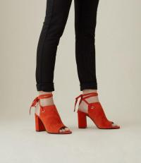 KAREN MILLEN Peep-Toe Boots in red ~ strappy ankle tie booties