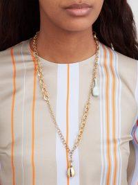 ROKSANDA Perfume bottle-pendant necklace ~ gold-tone chunky chain necklaces