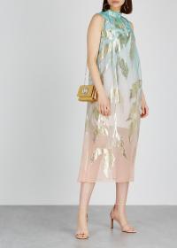 PETER PILOTTO Dégradé jacquard silk-blend dress / shimmering leaf prints