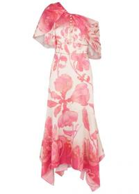PETER PILOTTO Floral-print stretch-silk midi dress ~ pink asymmetric event wear