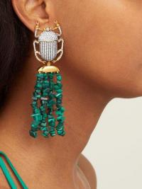 BEGUM KHAN Pharoah gold-plated & malachite clip earrings ~ statement drops ~ Egyptian inspiration