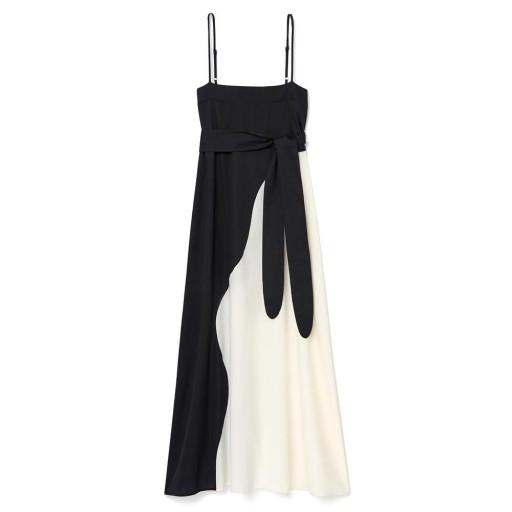 Mara Hoffman PHILOMENA DRESS in Rima Colorblock ~ black and white colourblock thin strap maxi