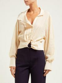 JACQUEMUS Pietro lace-panelled blouse in beige ~ chic contemporary shirt
