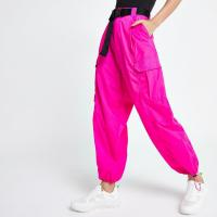 River Island Pink belted utility trousers ~ cuffed side pocket pants