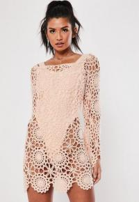 MISSGUIDED pink crochet bardot flare sleeve mini dress